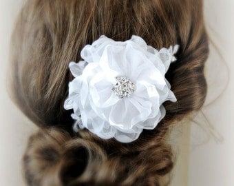 White Silk Organza Hair Flower, Bridal Fascinator, Blush, Ivory, Champagne Bridal Flower, Lace Hair Clip- APRIL
