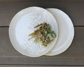 White Handmade Ceramic Salad or Snack Plate 8-Inch Table Setting in a Simple Rustic Textured Porcelain, Artisan Pottery by Licia Lucas Pfadt
