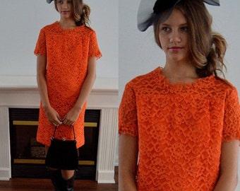 Vintage Orange Lace Dress, 1960s Lace Dress, Vintage Dress, Party, Wedding, Dress, Vintage Lace Dress, Lace Dress, Dresses