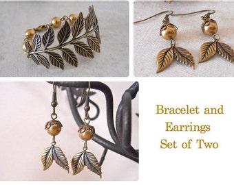 Jewelry Set of 2, Bracelet and Earrings, Branch bracelet, friendship bracelet, bangle, cuff, Drop Earrings, Bangle earrings,wedding bracelet