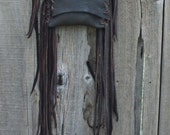 Fringed leather purse ,  Leather handbag , Crossbody phone bag