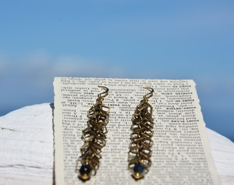 Chain Dangle Earrings, 24K Gold Ear Wires with Crystal Drop