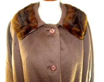 1960's Wool Swing Coat with Mink Collar in PERFECT Condition