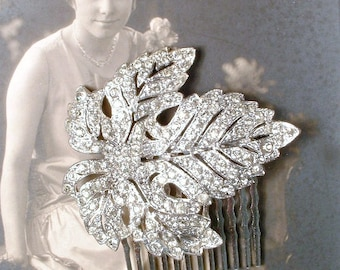 1920s Art Deco Bridal Hair Comb, TRUE Vintage Rhinestone Silver Leaf Hairpiece Pave Crystal Antique Dress Clip to OOAK Headpiece Rustic Chic