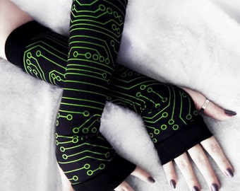 Wired Arm Warmers | Lime Green Circuit Board Print Black | Tech Gift Gothic Unisex Cyber Goth Cycling Yoga PCB Cyberpunk CPU Rave Cyborg