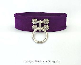 BDSM Submissive Slave Collar  Single Ring  Lockable  PURPLE Genuine Suede