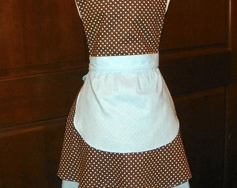 French Maid Apron Brown and Blue Dots Handmade for you to use during your cleaning, cooking, entertaining activities