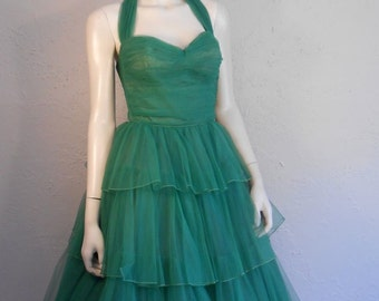 Heading Off To Monaco This Summer - Vintage 1950s Kelly Green Tulle Tiered Halter Evening Formal Gown - XS