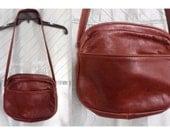 80s Brown Leather Shoulder Bag, Suede Lining, Zipper & Pouch Pockets, Messenger Bag, Boho Hippie Purse