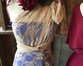 Vintage Lace Octopus Wrap Dress with short underskirt and seperate Bandeau~ Beige Lace, Triple Crown Cobalt.