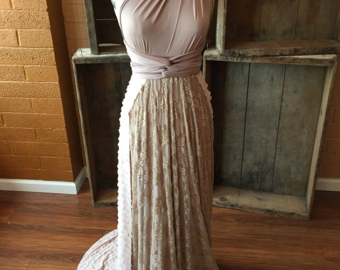 Mermaid's Tail Detachable Ruffle Train w/ attached Sash- Choose your fabrics- Wedding Gown to Reception