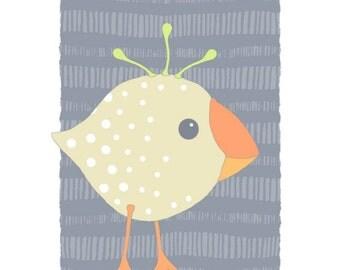 Baby bird art, nursery decor, kids room wall art, cute dotted animal, modern wall decor, birthday gift art print, quirky illustration 09