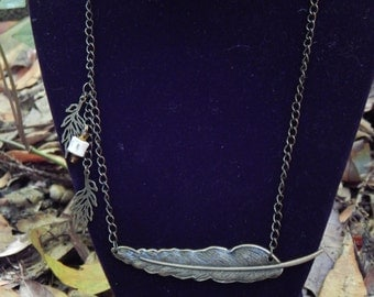 Bronze Feather and bone squareneck necklace on a chain OOAK