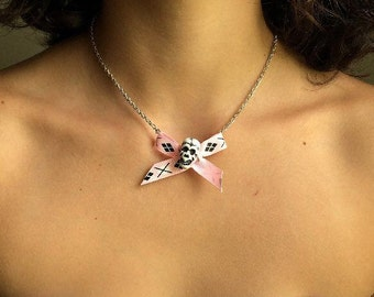 Bone To Be Wild - Skull And Argyle Bow Necklace