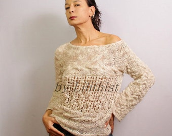 Grunge Sweater, Cable Knit Sweater, Loose Sweater, Slouchy Sweater, Lace Knit Sweater, Soft Pullover, Cream Tunic Linen & Wool Boho Sweater