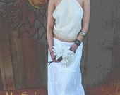 Simple Cotton 70's Style Halter Top, OOAK Design, Tea Dyed Cotton Halter, Beach Bride, HoneyMoon Halter, Bohemian , Hippie