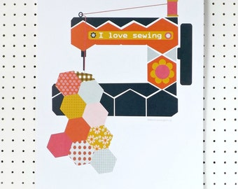 Sewing Machine Print I Love Sewing A3 Craft Room Poster