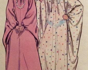 Vintage Pattern Retro CAFTAN Mrs Roper Housedress 1970s Size Small