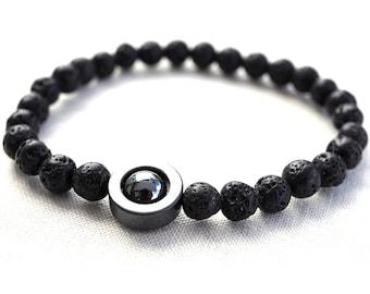 Strength and Power Lava Bracelet, Minimal Bracelet, Men Bracelet, Santorini Black Lava Stone Bracelet. Hematite Natural Stone Bracelet