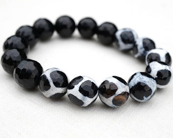 Black and White Tibetan Mystical Agate Dzi Beads. Black Onyx Bracelet. Stacking Bracelet. Large Faceted Gemstones, Minimalist Fashion Style