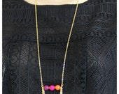 OUT OF TOWN - Sunset on the Water - Tangerine Orange Hot Pink Fuchsia Purple Faceted Jade Stone Center Pendant Elegant Pendant Gold Necklace