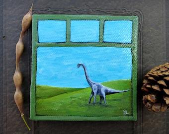 Miniature Dinosaur Painting, whimsical ORIGINAL brontosaurus or brachiosaurus long neck dinosaur mini art