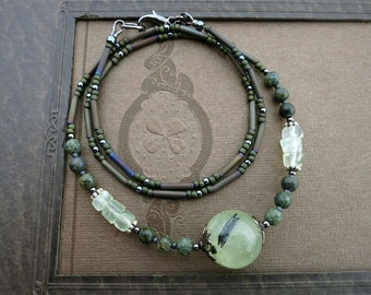 Green Prehnite Crystal Necklace, rustic Bohemian stone sphere tribal jewelry with light green inclusion prehnite bead