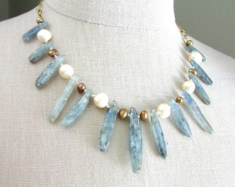 Natural Kyanite Pearl Necklace Silk Knotted Free Shipping