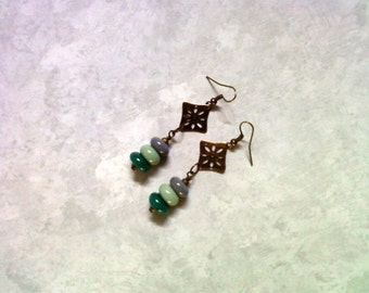 Gray, Mint Green and Dark Teal Ethnic Earrings (2190)
