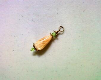 Ivory, Orange and Peridot Green Glass Pendant (1483)