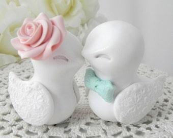 Love Birds Wedding Cake Topper, White, Vintage Pink and Mint Green, Bride and Groom Keepsake, Fully Custom
