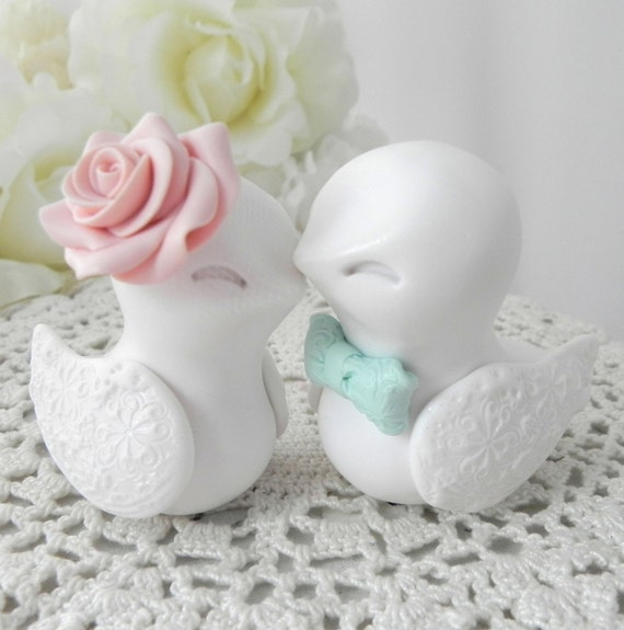 wedding cake toppers birds uk birds wedding cake topper white vintage pink and mint 26398