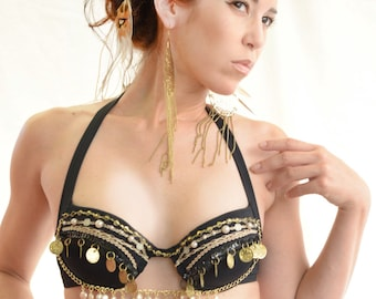 Pirate Wench Black Bra Top With Gold Chains Coins and Pearls, Tribal Belly Dance Halter BraTop,Gypsy Festival Clothing, Cosplay Costume