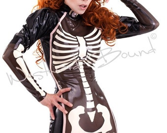 Palermo Skeleton Latex rubber  Dress from WESTWARD BOUND UK R1442