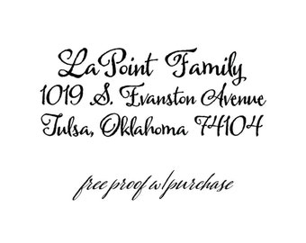 Return Address Stamp with a Calligraphy Script font. Mounted with Handle  or Self-Inking (20379)  2 1/2 x 1