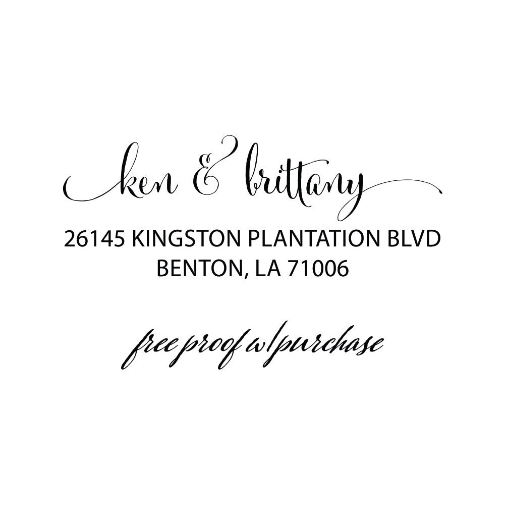 Custom Calligraphy Return Address Stamp Featuring The