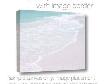 SALE Large Beach Wall Art-Teal-White-Ocean Photography-Waves-Coastal Art-30x40- Horizontal Sofa Art-Fine Art Photography-Gallery Wrap Canvas
