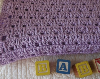 Super Soft Crocheted Baby Blanket in a Pretty Shade of Lavender with a White Edge