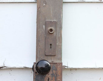 Antique Black Door Knob, Old Wood Door,Black Porcelain Knob, Old Skeleton Lock, Rustic Home, Wall Art, Primitive Art, Reclaimed Upcycled Art