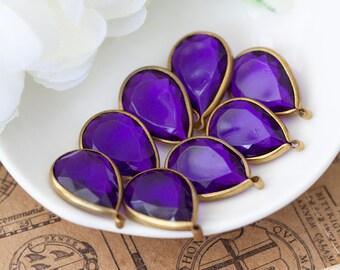 Vintage Faceted Purple Lucite Jewel Teardrop Pendant Bead Charms 20mm