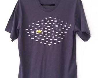 Yellow Submarine and Fish Deep Navy Blue Mens/Unisex T-Shirt