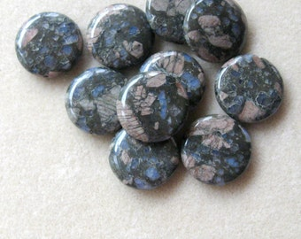 Blue Rhyolite Coin Pendants, Gemstone Pendants, Rhyolite Pendants, Craft Supplies, Bead Supplies, Jewelry Design, Jewelry Making Beads, (1)