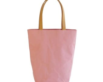 Ballerina Pink Canvas Cotton Day Tote  with Bridle Leather Straps