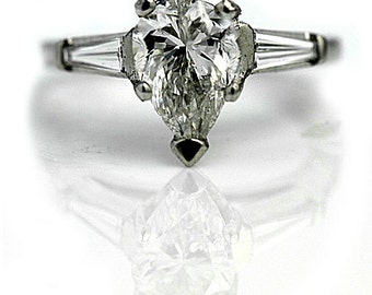 Vintage Pear Cut Diamond Engagement Ring 1.65ctw Platinum Pear Shaped Diamond Ring GIA Vintage Diamond Ring Size 5!
