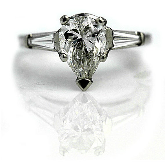 Vintage Pear Cut Diamond Engagement Ring 1 65ctw Platinum Pear