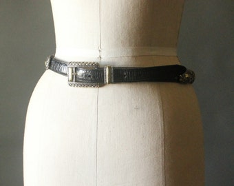 Vintage 80's Black Croc Embossed with Silver toned Repousse and Brass Embellished Belt by Brighton