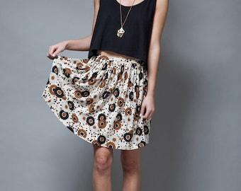 vintage 60s MOD mini skirt pleated floral print brown flowers XS S