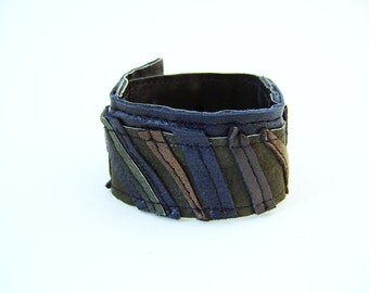Recycled leather bracelet brown, black and green, snap, ethical fashion, eco-friendly, upcycled, recycled