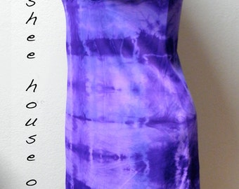 Upcycled Slip Dress: Vintage Shibori Dyed in Purple/Lavender/Blue Print One of a Kind Art Clothing Boho Evening Festival Resort Bridal Wear