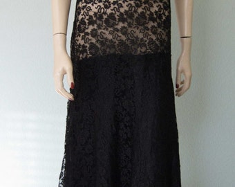 Early 1930s Elegant Black Lace Gown with Satin Lined Trumpet Skirt // Gorgeous Lace // Gatsby // Medium